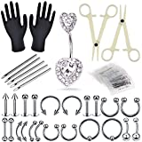 Nose Piercing Kit - Combofix 47Pcs Professional Belly Ring Nose studs Piercing Kit with 14G 16G Stainless Steel Piercing Needles Piercing Clamps for Nose Piercing Kit Piercing Supplies