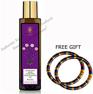 Forest Essentials Ayurvedic Bhring Raj Herb Enriched Head Massage Oil - 200 ML - With FREE GIFT (Pair of Multicolor Bangles)