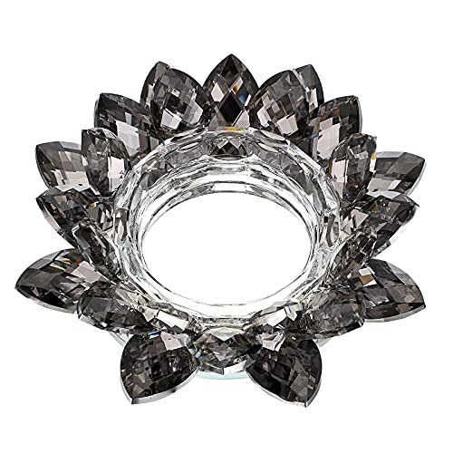 OwnMy Crystal Lotus Flower Candle Holder for Pillar Candle up to 3', Decorative Glass Lotus Petal Votive Candle Holder Tea Light Holder Candle Stand Candle Lamps for Home Decor Wedding Party (Black)