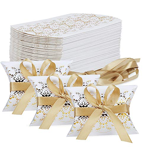 TsunNee Scatole per bomboniere, Scatola di caramelle di carta, confezione regalo Kraft, scatole di bomboniere per feste, 50 pezzi