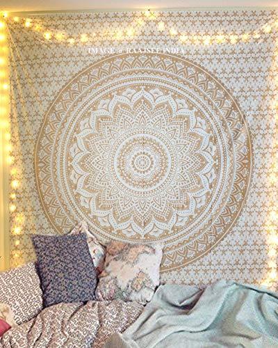 raajsee Indisch Psychedelic Wandteppich Mandala Glänzend Gold weiß, Elefant Boho Wandtuch Hippie,Golden Decke...