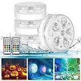 Iluminación subacuática LED luz impermeable con mando a distancia RF, temporizador, RGB 16 LED, ventosa e imán para piscina, acuario, estanque, jarrón de fiesta, decoración (4 unidades)