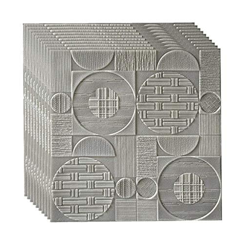 Chunse PE 3D Foam Brick Tapete, DIY Self Adhesive 3D-Wand-Aufkleber Wallpaper Steinwandpaneele Für Schlafzimmer Küche Wohnzimmer Badezimmer-Dekor,C,27.5x27.5inch/10PCS