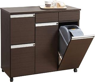 クロシオ ダイニングダストボックス4D ブラウン 幅82cm ゴミ箱 4分別ごみ箱