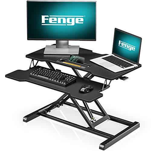 Fenge Sitz-Steh-Schreibtisch Aufsatz Höhenverstellbare ergonomische Büro Workstation für PC Computer Bildschirm Laptop SD315001WB