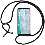 Ingen Funda con Cuerda para Huawei P Smart Plus 2019 / Honor 20 Lite - Carcasa Transparente TPU Suave Silicona Case con Colgante - Negro