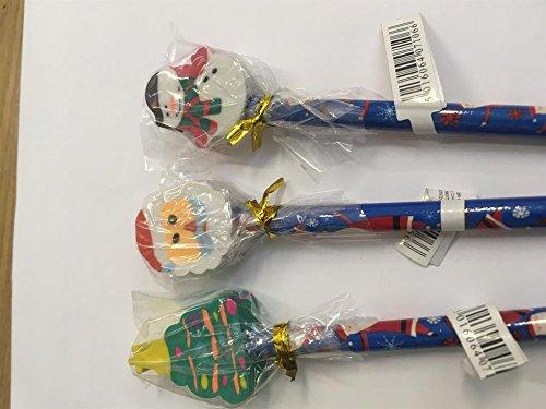 Pack de 6 Santa et Noël bonhomme de neige - 20cm crayons avec des plateaux de caoutchouc (C20)