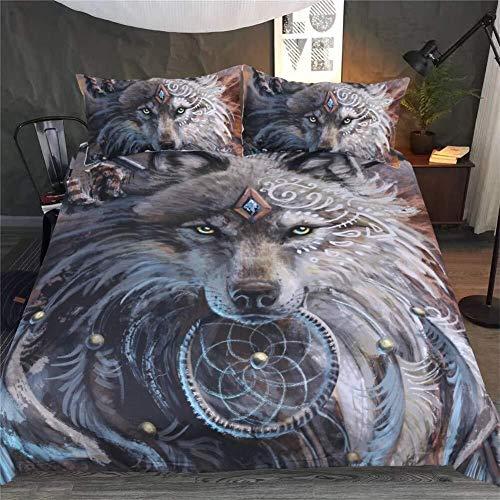 WHSS Juego de funda de edredón y funda de almohada 3D para dormitorio de 3 piezas, 2 fundas de almohada, 1 cama individual, doble, king size, 220 x 240 cm