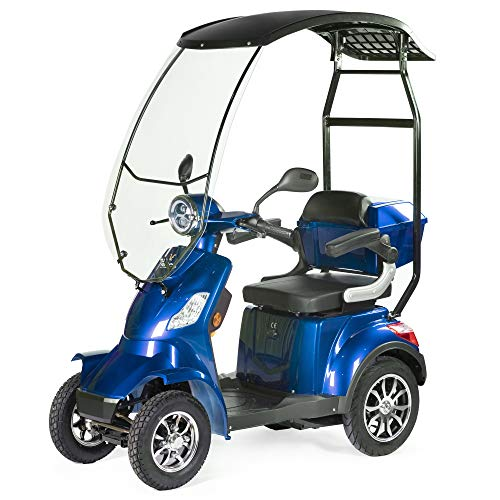 VELECO seniorenmobiel 4-wiel elektrische scooter met een dak 1000W FASTER blauw…