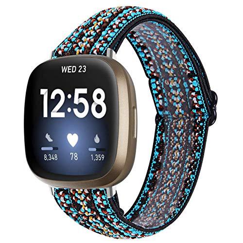 GIMart Compatible con Fitbit Versa 3 correa para mujeres y hombres, bandas de tela de nailon tejido de repuesto para Fitbit Sense/Versa 3 Smartwatch pequeño y grande (verde + azul)