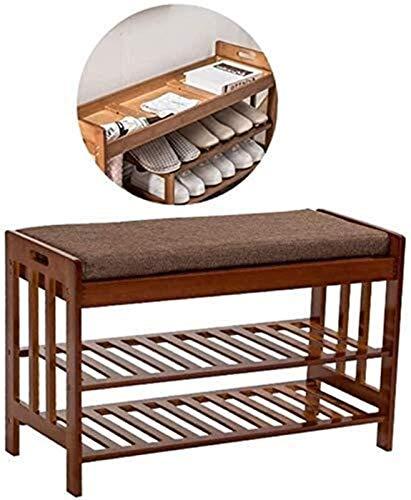 QZMX Estante de Zapatos Zapatero de bambú Banco Zapato, Zapatero con el Amortiguador y Ocultos del Compartimiento, Dormitorio en la Sala de Estar con Entrada Estante (Color : Simple-4)