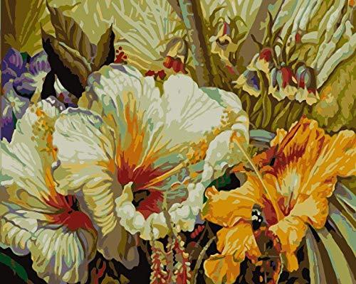 Heldere trompet bloem bloem DIY schilderij van nummers Wall Art foto Acryl schilderij voor huisdecoratie 40x50cm