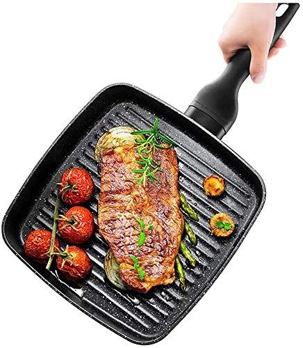 XY-M Pan de freír Cuadrado Steak Especial a Rayas de bistec de frascos de sartén sin Pegamento, Cocina de inducción y Estufa de Gas Universal