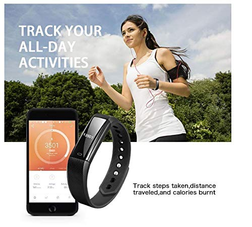 Fitness Tracker Smart Bracelet StarMiUp Bluetooth Call Remind Remote Self-Timer Smart Watch Activity Tracker Calorie Counter Wireless Pedometer Sport Band Sleep Monitor For Android iOS Phone Black