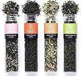 Muestra orgánica de té verde de hojas sueltas - Surtido de regalo familiar vegano de 4 piezas (verde / negro / lavanda / jengibre) (1.84 oz / 52 g)