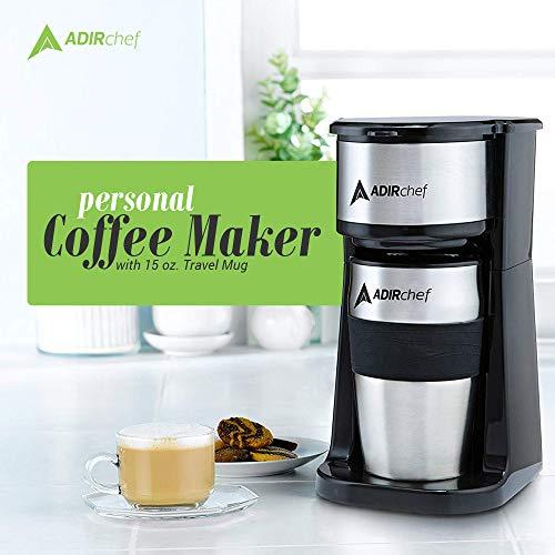 AdirChef Grab N' Go Personal Coffee Maker with 15 oz. Travel Mug, Black/Stainless Steel