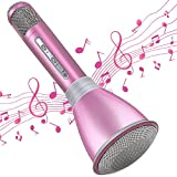 HTMSR Karaoke Mikrofon, Bluetooth Mikrophon Mit Aufnahme, Dynamisches Licht Drahtlose Tragbares Handmikrofon Mit Lautsprecher Für Erwachsene Und Kinder, Kompatibel Mit Android IOS PC,Rosa