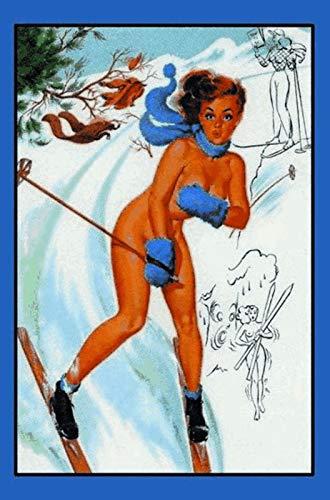FS Pinup Ski vrouw met sjaal metalen bord gebogen metalen teken 20 x 30 cm