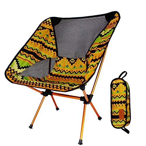Yangman Draagbare campingstoel, compacte ultralichte vouwstoelen voor rugzakken in een draagtas, 150 kg draagvermogen, voor outdoor, camping, reizen, strand, picknick, festival, wandelen, indianyellow
