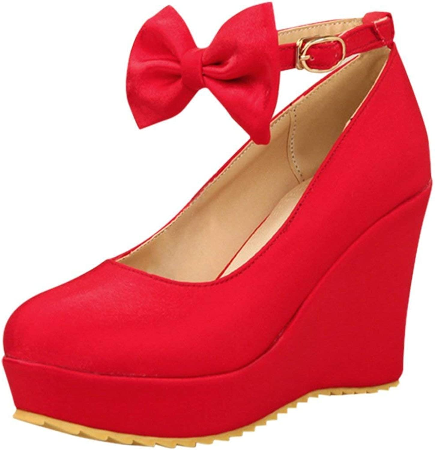 ZX Boots Women's High Heel Wedge Platform Pumps with Bows Ankle Strap Cute Court shoes