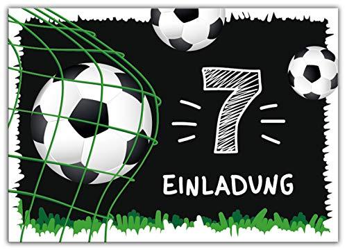12 Einladungskarten zum 7. Kindergeburtstag siebte Geburtstag Jungen Fussball Fußball