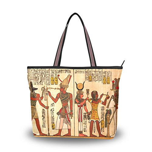 Light Weight Strap Handbags Purse Shopping Egyptian Papyrus Antique Hieroglyphs Shoulder Bags Tote Bag for Women Girls Ladies Student