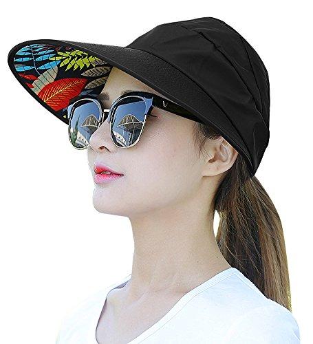 HINDAWI Sun Hats for Women Wide Brim UV Protection Summer Beach Visor Cap Black