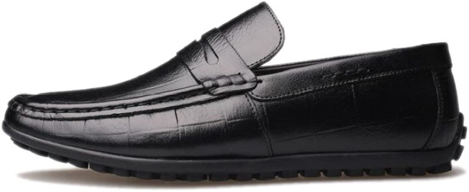 ASJUNQ Casual Men's Leather shoes Business Round Soft Tip,Black-41
