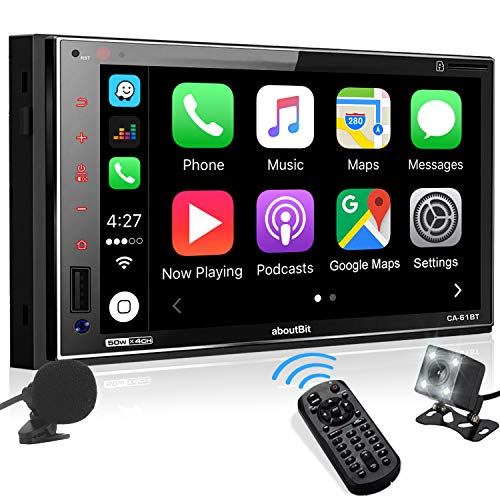 aboutBit Bluetooth Car Stereo Compatible with Apple CarPlay, Double Din 7' Touchscreen Car Digital Multimedia with Mirrorlink, AM/FM, USB/SD/Aux, Rearview Camera, Remote Control