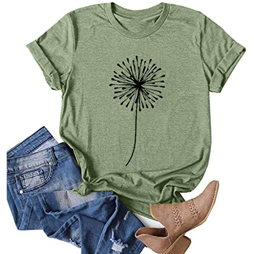 EMATOP T-Shirts for Women Daisy Print Short Sleeve Tunic Summer Casual Loose Tops Teen Girls Solid Color Pullover O-Neck Funny Blouse Green