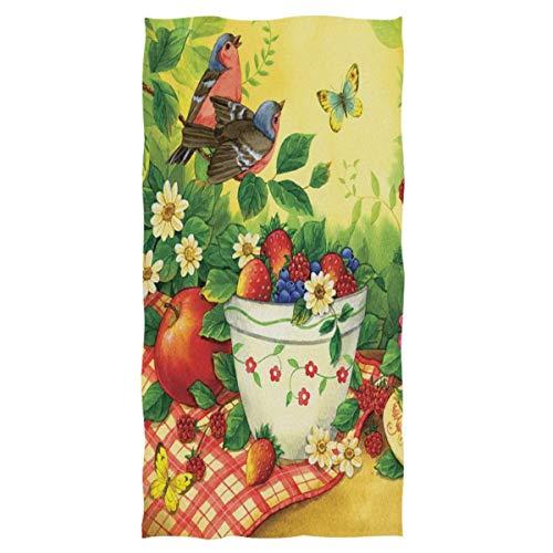 Bert-Collins Vintage Cupcake Flores Pájaros Toallas de Mano Toalla Suave Picnic de Primavera Linda Toalla de Mano de Mariposa Toallas de baño para Invitados Toalla para la Mano (40x70cm)