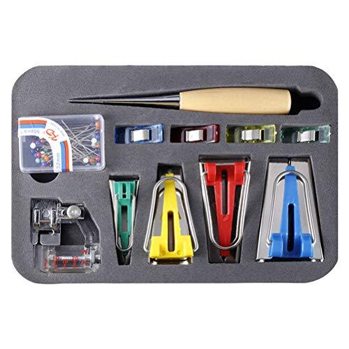 Kylewo Schrägbandformer Werkzeug,Stoff Bias Tape Maker Werkzeug Nähen Quilting mit Verstellbar Nähfuß, Quilten Ahle, Ball Pins, Nähen Zubehören für Kurzwaren
