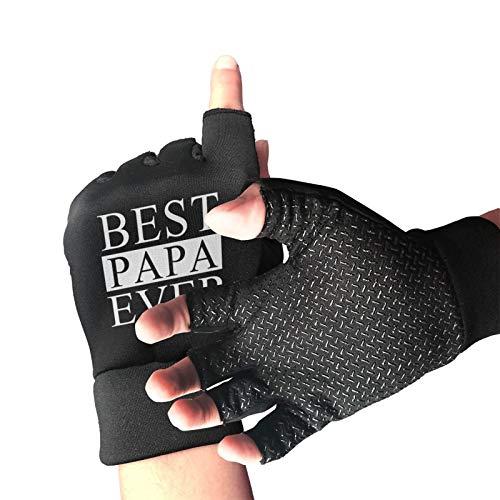Mark Stars Best Papa Ever - Guantes de medio dedo para hombre, unisex, antideslizantes
