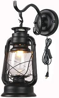 ZJZTD Kerosene Wall Sconce Plug in Lantern Wall Lamp E27 Metal Glass Shade Living Room Bedroom Bedside Hotel Lamp (Color : Black)