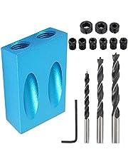 Juego de 14 Piezas Plantilla de orificio Bolsillo Kit de Taladro Guía De Carpintería De 15 Grados Posicionador 6/8/10mm para Carpintería (Azul)