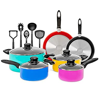 Best Choice Products 15-Piece Nonstick Aluminum Stovetop Oven Cookware Set for Home, Kitchen, Dining w/ 4 Pots, 4 Glass Lids, 2 Pans, 5 BPA Free Utensils, Nylon Handles - Multicolor