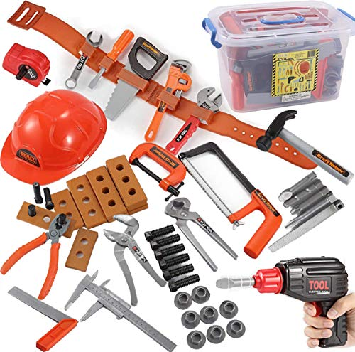 JOYIN Kids Tool Set with Electronic Cordless Drill, Safety Helmet, and 48 Pieces Pretend Construction Toys with Bonus Storage Box