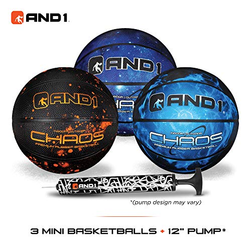 AND1 Mini Basketball Set for Kids Deflated w/Pump Included:  3 Pack of Premium Youth Size Basketballs Easy to Grip Shoot amp Dribble Made for Indoors and Outdoors