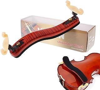 """Adjustable Shoulder Rest for 3/4 & 4/4 Violin 13"""" 14"""" Viola Maple Wood Shoulder Mount with Silicone Rubber Feet for Shoulder Support Professional Height Width Adjustable Violin Rest (Red Brown)"""