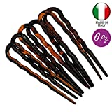 298-003 - Set 6 pezzi forcine per capelli ondulate cm 7 made in Italy - Mollette forcine p...