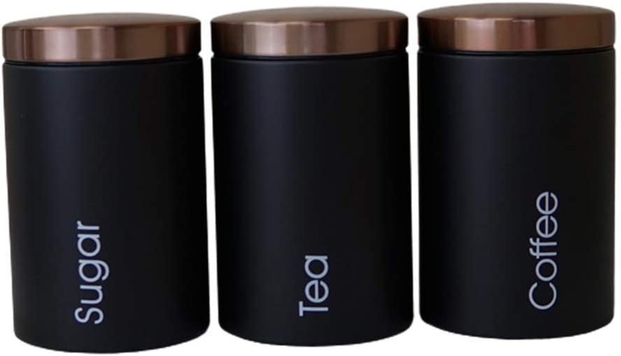 BERTY·PUYI 3 Piece Kitchen Canister Set Deluxe Max 81% OFF S - Lid Food with