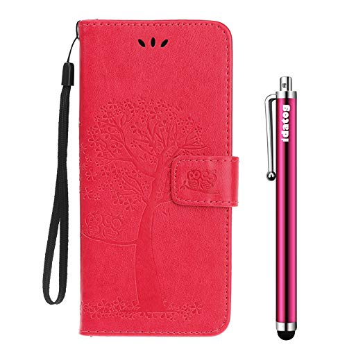 idatog Cover per Motorola Moto G5S,[Disegno del Gufo] Custodia Retro a Libro Flip Case Portafoglio Cover in Pelle Wallet Magnetica Supporto Cover Cassa Protettiva (Rosso)