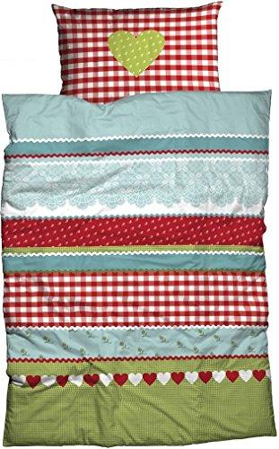 Casatex Renforcé Bettwäsche Herz KARO moderner Landhausstil genießen Sie Hüttenromantik in kuscheliger Baumwoll Bettwäsche rot-grün 135 cm x 200 cm
