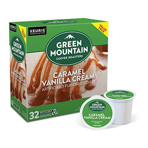 Green Mountain Coffee Roasters Caramel Vanilla Cream, Single-Serve Keurig K-Cup Pods, Flavored Light Roast Coffee, 32 Count