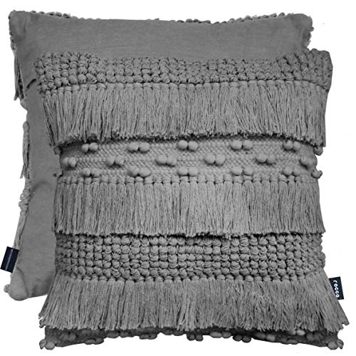 Cushion Cover Bohemian Thick Wool Textured Nordic Knit Tassel Pom Pom 100% Cotton Plain Back 17' x 17' (43 cm x 43 cm) (Grey)