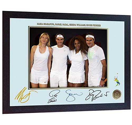 SGH SERVICES Gerahmtes Poster Roger Federer Rafael Nadal Serena Williams Maria Sharapova mit Autogramm, Tennis Foto, vorgedrucktes Poster, gerahmter MDF-Rahmen