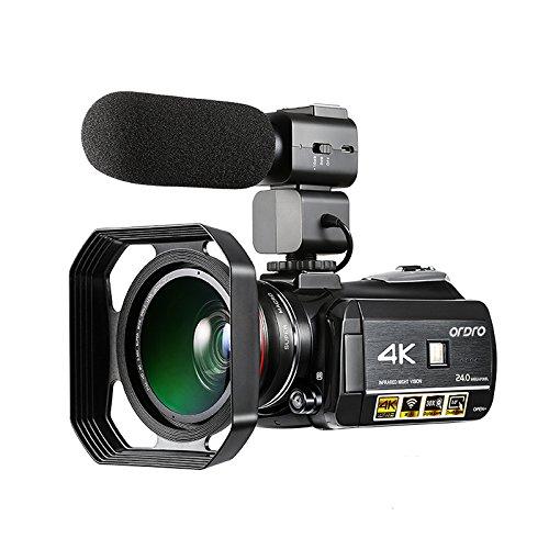 Cámara de vídeo digital 4K Ordro 4K Ultra HD con micrófono externo, objetivo gran angular y parasol / Videocámara de visión nocturna IR de 24 MP Wifi 60 fps de Emperor of Gadgets®