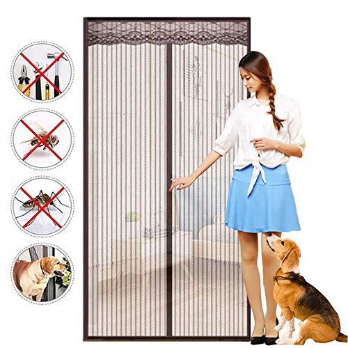 Magnetische Fly Screen Door Gordijn Summer Anti-Mosquito automatisch sluiten Mute zelfaanzuigende Gratis Punch Door Screen voor Slaapkamer Woonkamer Patio Deur,Brown,150 * 240cm