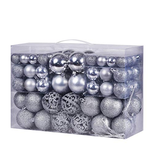 100Pcs Christmas Balls Ornaments, Decorative Hanging Baubles Set with Reusable Hand-held Gift Package for Xmas Tree(Silver)