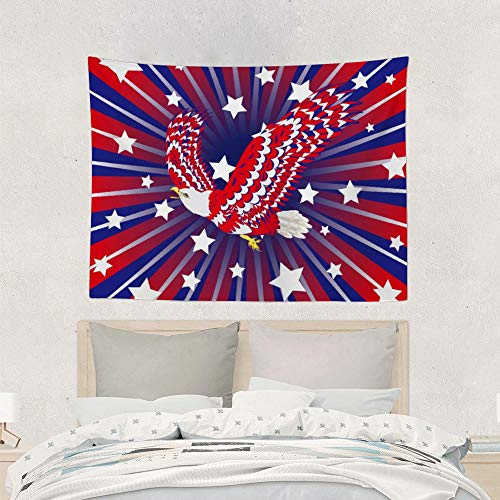 QSMX Psychedelic Tapestry Wall Hanging, Boho Mandala Tapestry, Cool Bald Eagle of Blue, Red and White Wall Tapestry, Wall Creative Decoration, 60'x80' Wall Art, Picnic Mat, Blanket, Tablecloth